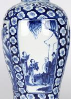 Chinese Pair of Large Blue & White Panel Vases with Figures Qing Dynasty (19 of 25)