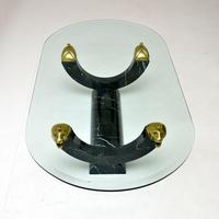 1970's Vintage Marble Glass & Brass Coffee Table (4 of 8)