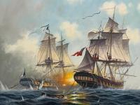 "Seascape Oil Painting Naval Frigate Ships Napoleonic War Sea ""Battle Trafalgar"" (5 of 25)"
