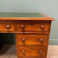 Large Victorian Mahogany Antique Pedestal Desk (4 of 7)