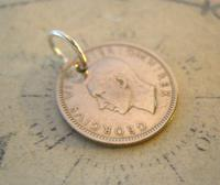 Vintage Pocket Watch Chain Fob 1948 Lucky Silver Sixpence Old 6d Coin Fob (6 of 8)