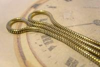 Antique Pocket Watch Chain 1900s Brass & Copper Snake Link Albert With Button Hole Fob (5 of 11)