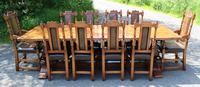 1960's Oak Dining Suite with Refectory Table & Set 10 Chairs - 8+2 Carvers (2 of 9)