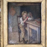 Antique Georgian oil painting study of boy in kitchen scullery with pewter plate (5 of 10)