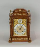 Fine quality burr walnut bracket clock by Lenzkirch of Germany, with a quarter chiming movement c.1903 (6 of 14)