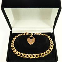 Victorian Hallmarked Gold Heart Padlock Bracelet (2 of 6)