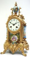 Wow! French Blue Sevres Mantel Clock 8 Day Striking Mantle Clock (10 of 12)