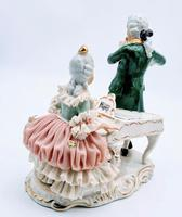 Dresden Germany Porcelain Figurine Musicians Playing Piano & Flute (4 of 9)