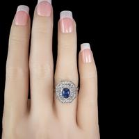 Art Deco Sapphire Diamond Cluster Ring 18ct Gold 1.50ct Sapphire 1.69ct Diamond c.1930 (7 of 7)