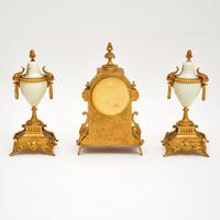 Antique French Porcelain & Gilt Mantel Clock Set (6 of 12)