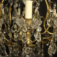 French Gilded Bronze & Crystal 11 Light Birdcage Chandelier (4 of 10)