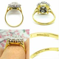 Impressive Vintage 18ct gold diamond cluster engagement ring 1.40 carat ~ With Independent Valuation (7 of 9)