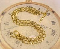 Vintage Pocket Watch Chain 1970s 14ct Gold Plated Double Albert With T Bar Nos