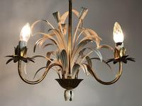 Vintage French 3 Arm Petite Toleware Ceiling Light Chandelier (7 of 11)
