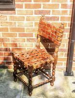 Antique Wood Riveted Woven Leather Seat Chair 19th Century (3 of 5)