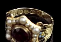 Antique Mourning Ring, 18ct Gold, Enamel, Pearl & Garnet - William IV (12 of 13)