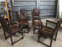 Set of 6 Antique Leather Studded Chairs (3 of 4)