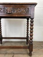 Antique Oak Carved Green Man Side Table (3 of 10)