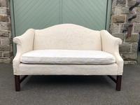 English Upholstered Camel Back Sofa (2 of 8)