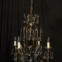 French Gilded Crystal Birdcage 5 Light Antique Chandelier (3 of 10)
