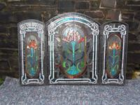 Arts & Crafts Leaded Glass Fire Screen