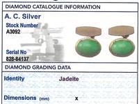 Jade / Natural Jadeite & 21ct Yellow Gold Cufflinks - Vintage c.1940 (6 of 6)