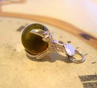 Vintage Silver Pocket Watch Chain Fob 1970s Dainty Talon or Claw Holding an Amber Ball (6 of 9)