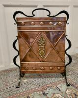 Victorian Arts & Crafts Copper and Iron Fire Screen