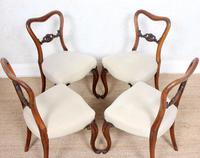 4 Walnut Balloon Dining Chairs 19th Century (11 of 12)