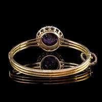 Antique Victorian Amethyst Diamond Bangle 15ct Gold c.1880 (4 of 7)