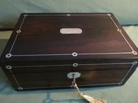 Inlaid Rosewood Jewellery Box + Tray. Plush Interior c 1845 (5 of 12)