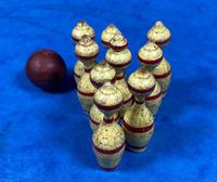19th Century Skittles Game in Tunbridge Ware White Wood Painted Egg (9 of 21)