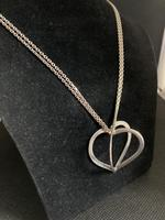 """Danish Silver Heart Pendant on """"double"""" Chain. 1960s (2 of 5)"""