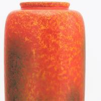 Royal Lancastrian Orange-Vermilion & Black Streaked Vase c.1930 (2 of 9)