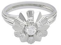 0.62ct Diamond & 18ct White Gold Dress Ring - Vintage c.1950 (3 of 9)
