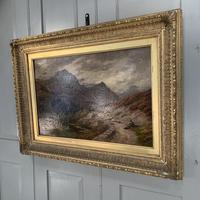 Antique Victorian Scottish landscape oil painting with shepherd and flock of sheep (6 of 10)