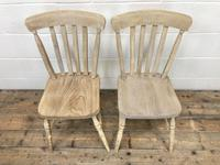 Set of Four Antique Beech & Elm Farmhouse Dining Chairs (4 of 8)