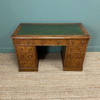 19th Century Victorian Oak Antique Pedestal Desk (4 of 7)
