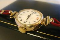 9ct Gold Ladies Wrist Watch 1934 Swiss 15 Jewel Porcelain Dial Red 12 FWO (8 of 12)