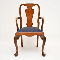 Set of 10 Antique Queen Anne Style Burr Walnut Dining Chairs (4 of 13)