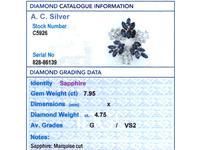 7.95ct Sapphire & 4.75ct Diamond, Platinum Pendant / Brooch - Vintage c.1960 (8 of 9)