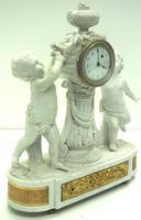 French Empire Figural Mantel Clock – Bisque Porcelain Cherub Verge Mantle Clock c.1800 (5 of 13)