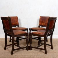 4 Carved Oak Leather Dining Chairs (5 of 12)