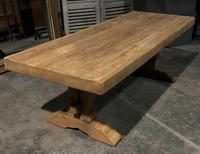 Large French Bleached Oak Trestle Farmhouse Dining Table (7 of 16)