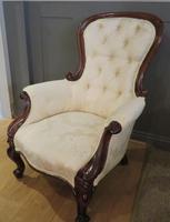 Victorian Walnut Armchair upholstered Cream Brocade (11 of 11)