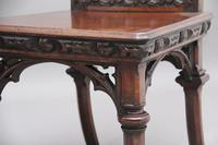 Near Pair of 19th Century Carved Oak Gothic Hall Chairs (11 of 12)