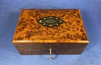 Victorian  French Burr Cedar Jewellery Box with It's Original Interior (2 of 13)