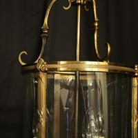 French Gilded Bronze Convex Antique Hall Lantern (7 of 10)