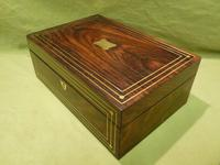 Inlaid Unisex Rosewood Jewellery Box + Tray. c1835 (3 of 12)