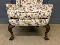 Upholstered Walnut Wing Armchair (3 of 9)